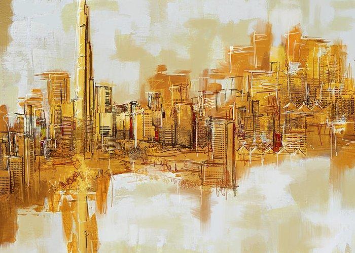 Dubai Greeting Card featuring the painting Burj Khalifa Skyline by Corporate Art Task Force