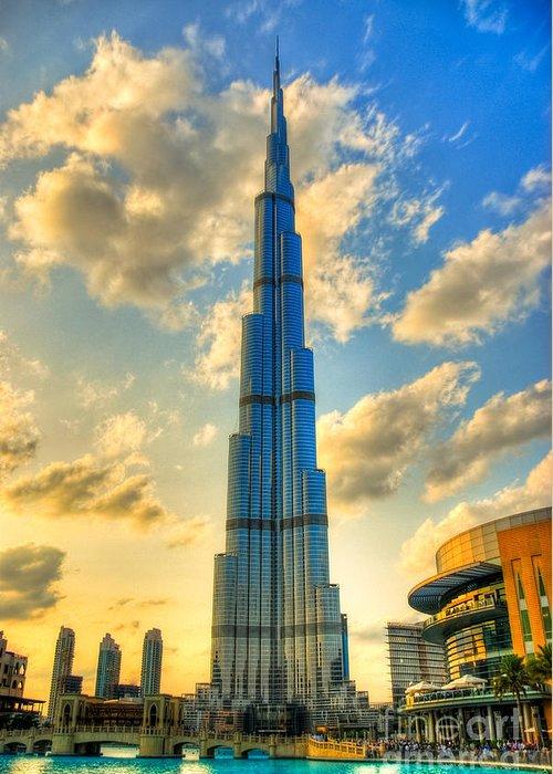 Burj Greeting Card featuring the photograph Burj Khalifa by Syed Aqueel