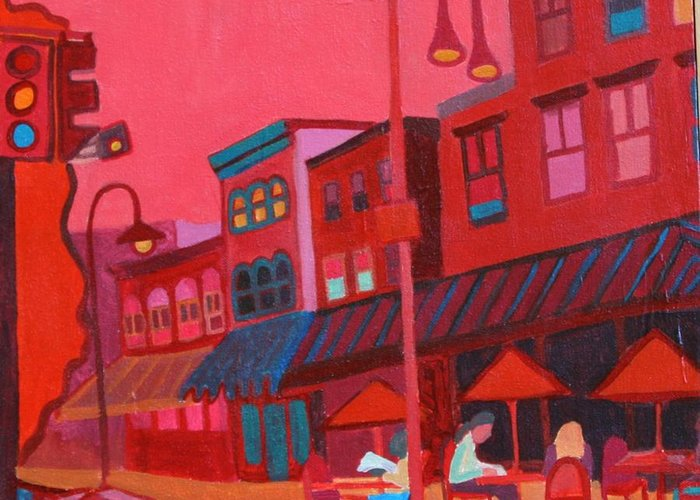 Vermont Greeting Card featuring the painting Burlington VT cafe by Debra Bretton Robinson