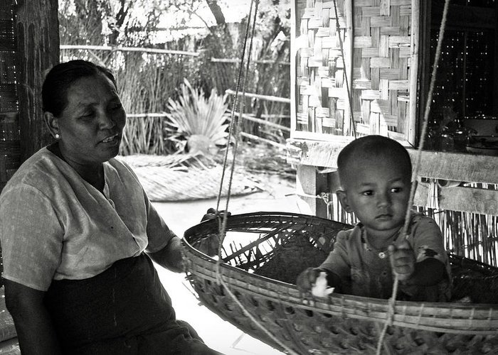 Child Greeting Card featuring the photograph Burmese Grandmother And Grandchild by RicardMN Photography