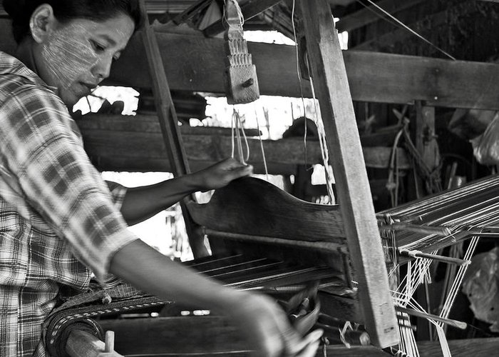 Woman Greeting Card featuring the photograph Burmese Woman Working With A Handloom Weaving. by RicardMN Photography