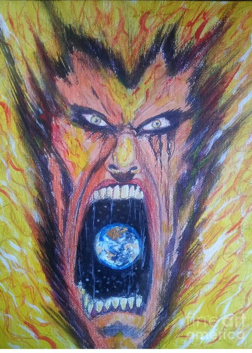 Man Face World Fire Scream Greeting Card featuring the painting Burn by Mark Bradley