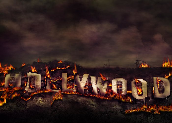 Hollywood On Fire Greeting Card featuring the photograph Burn This City by Anthony Citro
