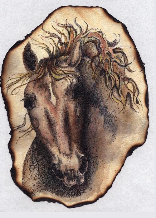 Horses Greeting Card featuring the painting Burned Art by Jodi Bauter