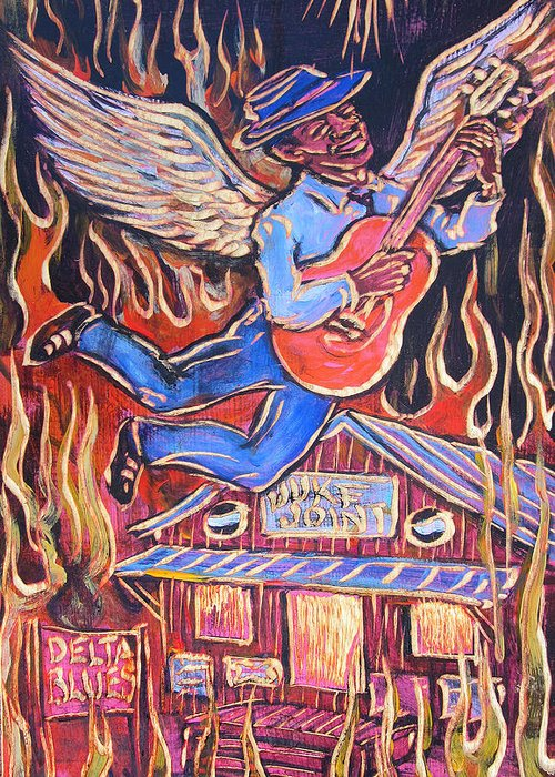 Blues Greeting Card featuring the painting Burnin' Blue Spirit by Robert Ponzio