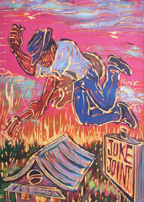 Blues Greeting Card featuring the painting Burnin' It Up by Robert Ponzio