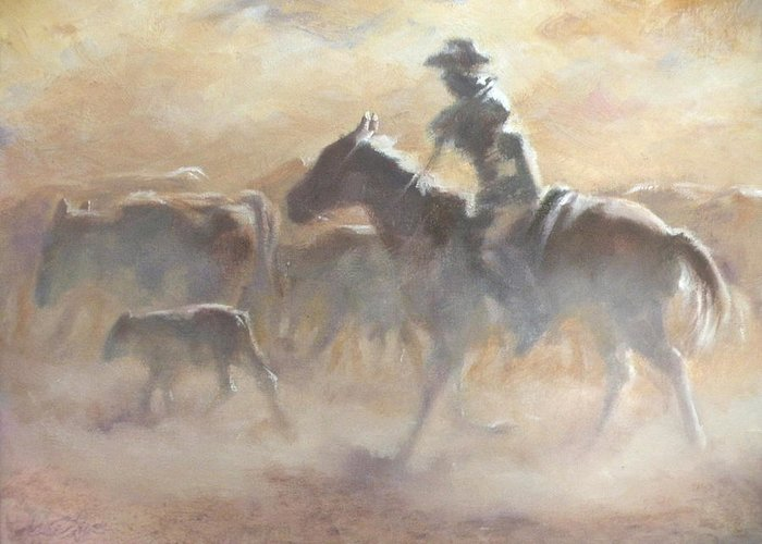 Cowboys Greeting Card featuring the painting Burning Daylight by Mia DeLode