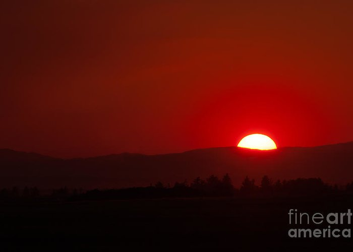 Burning Sky Greeting Card featuring the photograph Burning Sky by Charles Kozierok