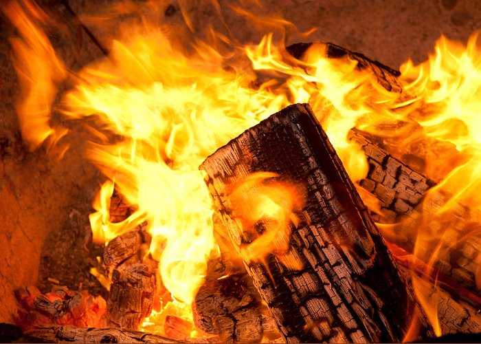 Fire Greeting Card featuring the photograph Burning Wood by Joe Belanger