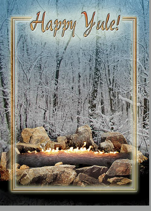 Yule Greeting Card featuring the digital art Burning Yule Log by Melissa A Benson