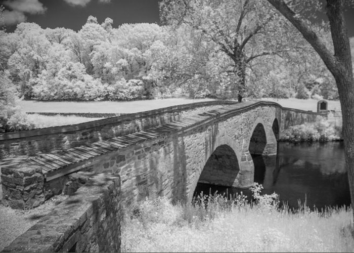 Antietam Battlefield Greeting Card featuring the photograph Burnside Bridge 0239 by Guy Whiteley
