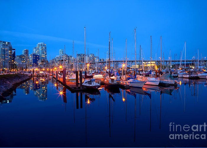 Vancouver At Night Greeting Cards