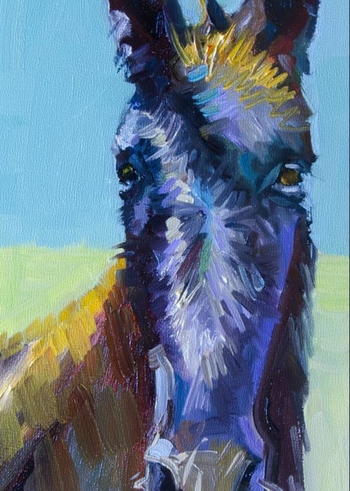Burro Greeting Card featuring the painting Burro Stare by Diane Whitehead