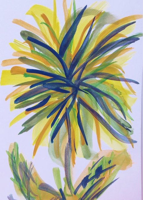 Greeting Card featuring the painting Burst Of Flower by Cindy Lawson-Kester