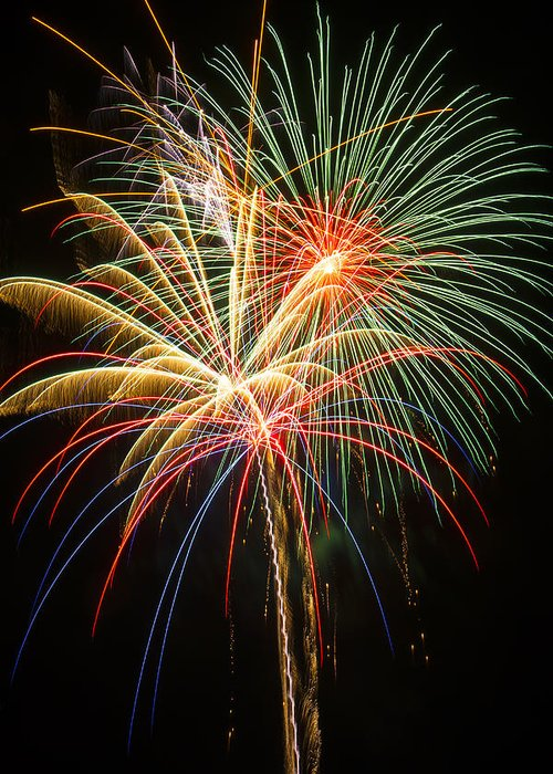 Awesome Fireworks Lights Up The Darkness Greeting Card featuring the photograph Bursting In Air by Garry Gay