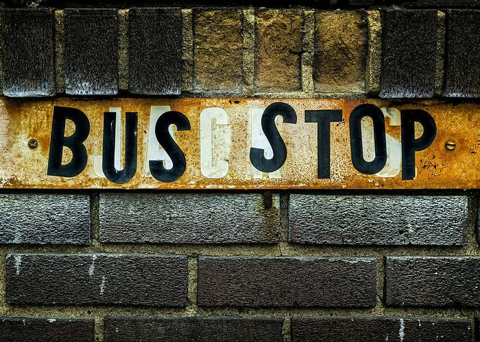 Jeff Greeting Card featuring the photograph Bus Stop by Jeff Burton