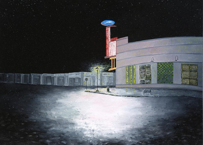 Greyhound Bus Station Greeting Card featuring the painting Bus Stop Macon Georgia by Richard Barham