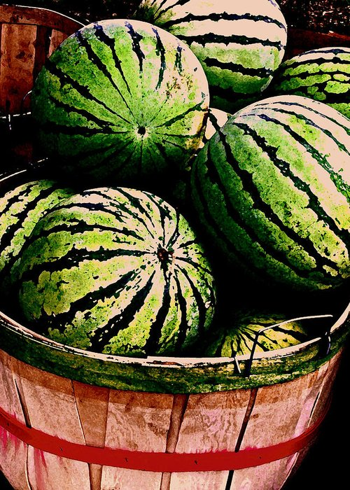 Watermelons Greeting Card featuring the photograph Bushel Full Of Melons by Selma Glunn