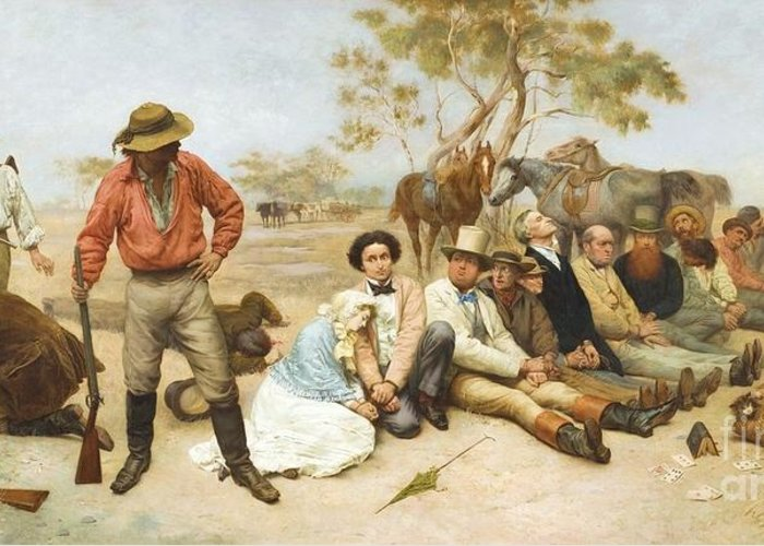 Pd Greeting Card featuring the painting Bushrangers by Pg Reproductions