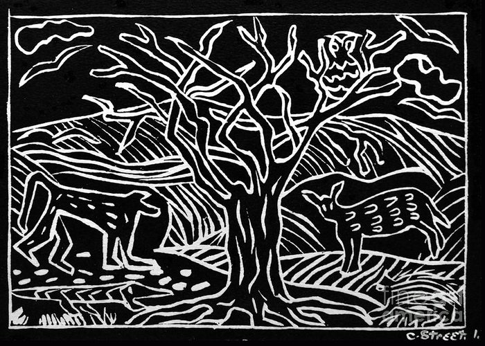 Lino Print Greeting Card featuring the relief Bushveld Indaba by Caroline Street