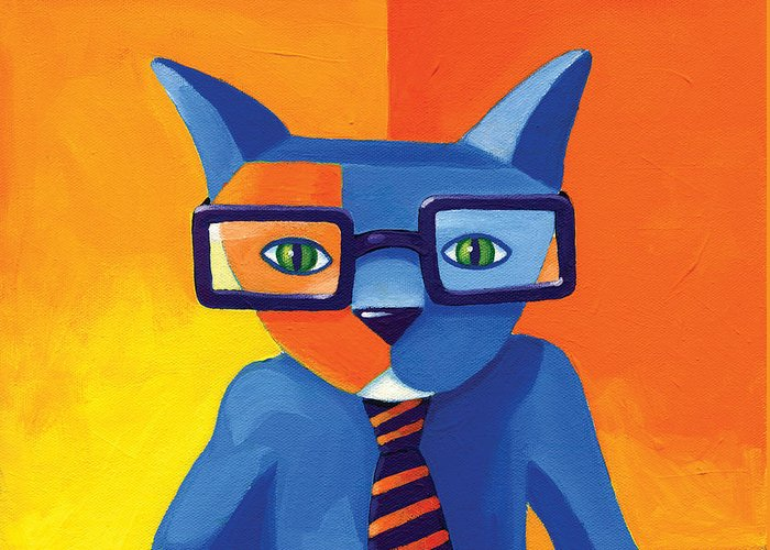 Abstract Cat Greeting Cards