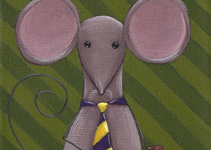 Mouse Greeting Card featuring the painting Business Mouse by Christy Beckwith