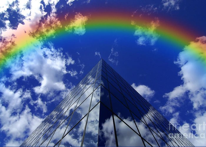 Bless Greeting Card featuring the photograph Business Rainbow And Rays Of Light by Lane Erickson