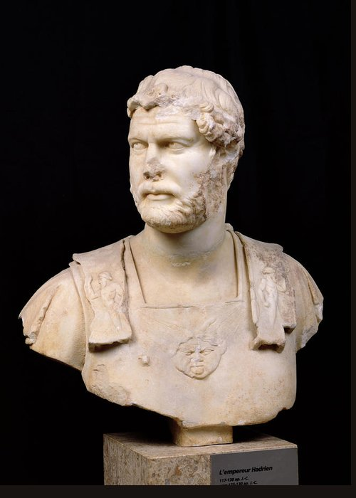 Buste De L'empereur Hadrien Greeting Card featuring the sculpture Bust Of Emperor Hadrian by Anonymous