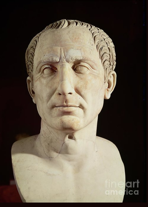Portrait Greeting Card featuring the sculpture Bust Of Julius Caesar by Anonymous