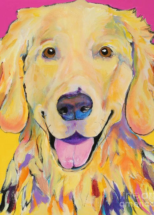 Golden Retriever Greeting Card featuring the painting Buster by Pat Saunders-White