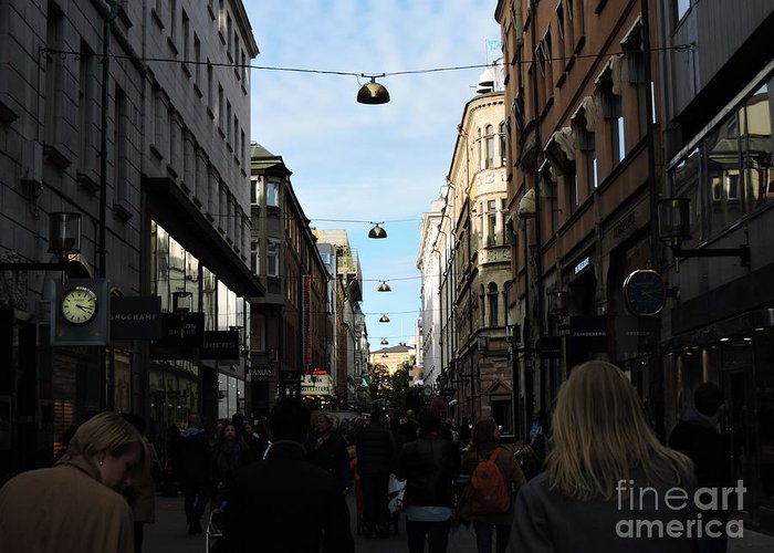 Stockholm Greeting Card featuring the photograph Busy by Brandi Moore