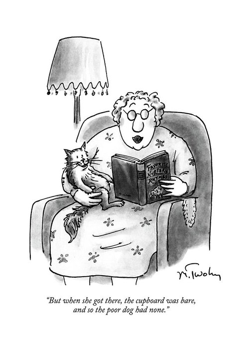 Cats Greeting Card featuring the drawing But When She Got by Mike Twohy