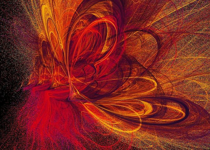 Abstract Butterfly Prints Greeting Card featuring the digital art Butterfire by Sharon Lisa Clarke
