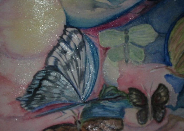 Watercolor Butterflies Greeting Card featuring the painting Butterflies And Spheres by Marian Hebert
