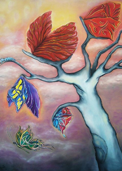 Tree Greeting Card featuring the painting Butterflies In The Midst by Janice Aponte