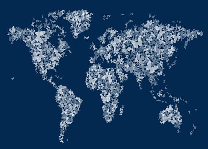 A Map Of The World Made Up From White Semi-transparent Butterfly Silhouettes On A Navy Blue Color Background. Greeting Card featuring the digital art Butterflies Map Of The World Map by Michael Tompsett
