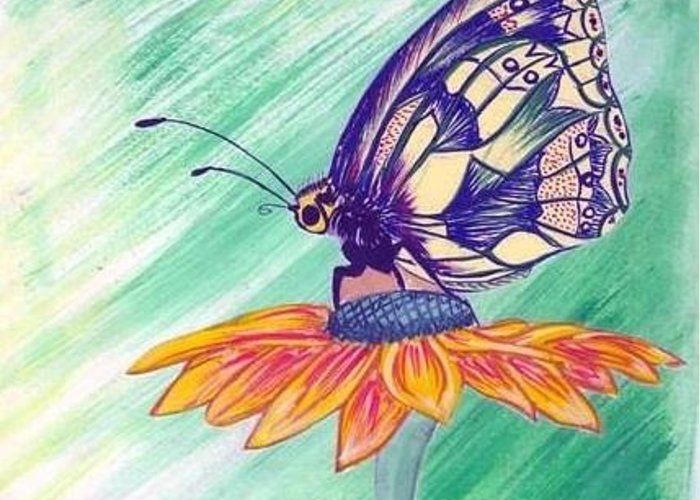Butterfly Greeting Card featuring the painting Butterfly by Abhilasha Yadav