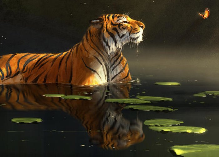 Tiger Greeting Card featuring the digital art Butterfly Contemplation by Aaron Blaise