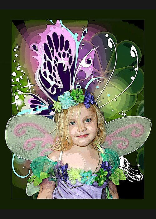 Butterfly Fairy Greeting Card featuring the mixed media Butterfly Fairy by Ellen Henneke