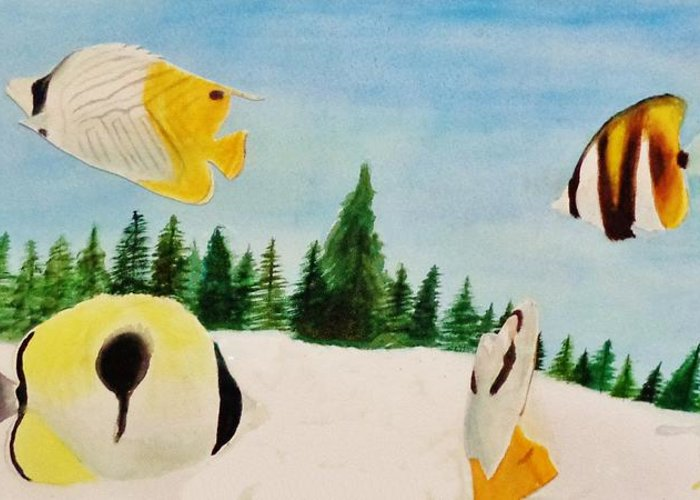 Butterfly Greeting Card featuring the painting Butterfly Fish by Savanna Paine