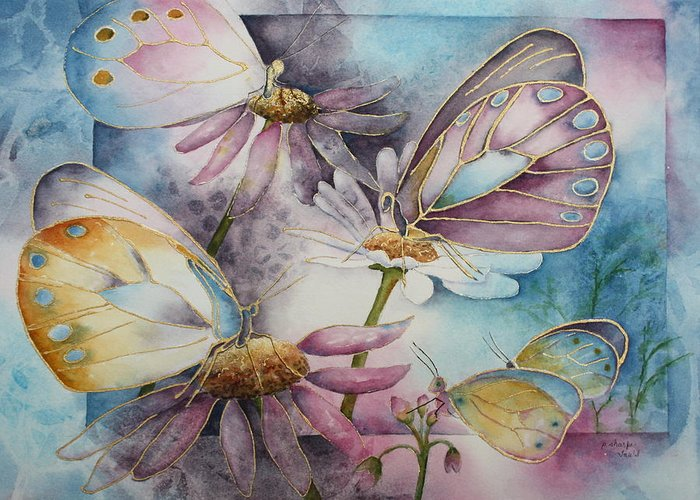 Butterflies Greeting Card featuring the painting Butterfly Garden by Patsy Sharpe