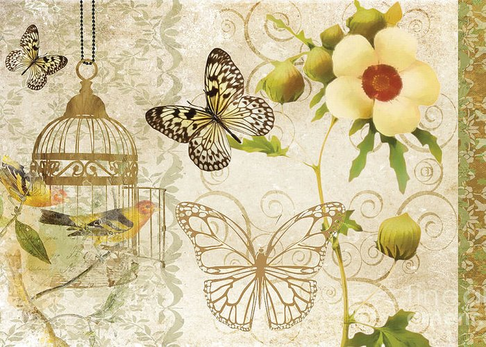 Butterfly Greeting Card featuring the painting Butterfly Green Collage by Grace Pullen