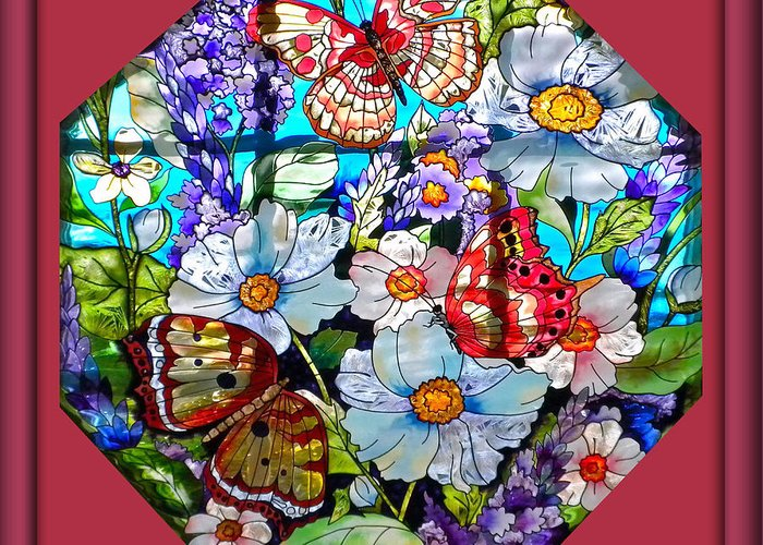 Stained Glass Greeting Card featuring the photograph Butterfly Octagon Stained Glass Window by Thomas Woolworth