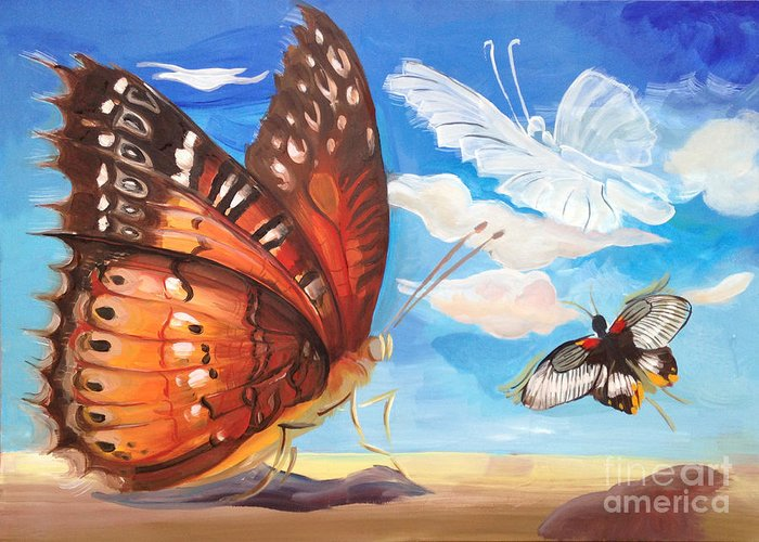 The Butterfly (1914 Film) Directed By Tom Ricketts And Starring Charlotte Burton Greeting Card featuring the painting Butterfly Paysage 2 by Art Ina Pavelescu