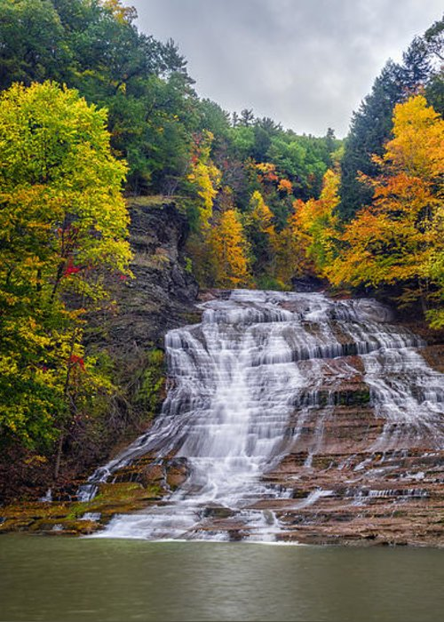 Waterfall Greeting Card featuring the photograph Buttermilk Falls by Mark Papke