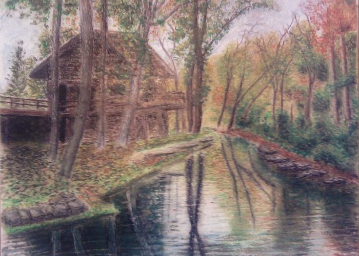 Butts Mill Farm Greeting Card featuring the mixed media Butts Mill Farm by Andrew Pierce