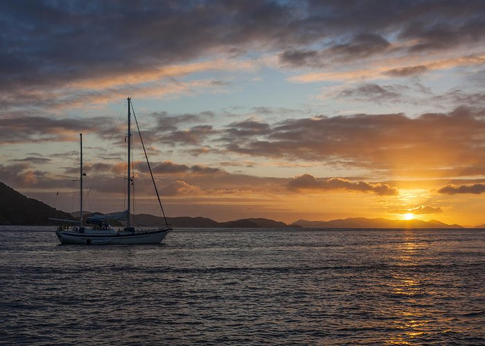 3scape Photos Greeting Card featuring the photograph Bvi Sunset by Adam Romanowicz