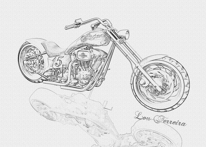 Pencil Drawing Motorcycle Greeting Card featuring the digital art Bw Gator Motorcycle by Louis Ferreira