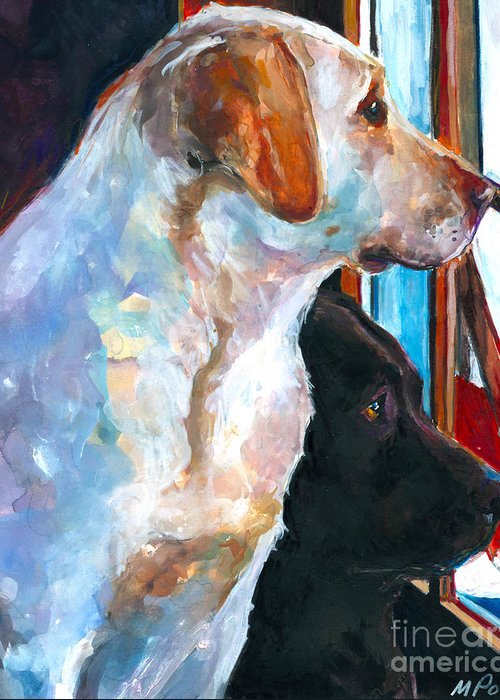 Labrador Retriever Greeting Card featuring the painting By My Side by Molly Poole