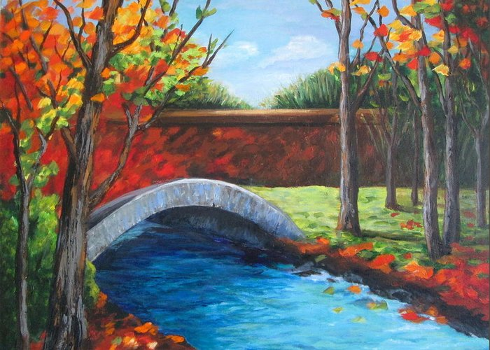 Landscape Greeting Card featuring the painting By The Bridge by Rosie Sherman
